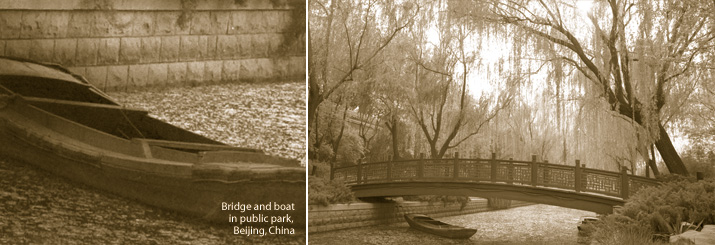 Bridge and boat, public park, Beijing