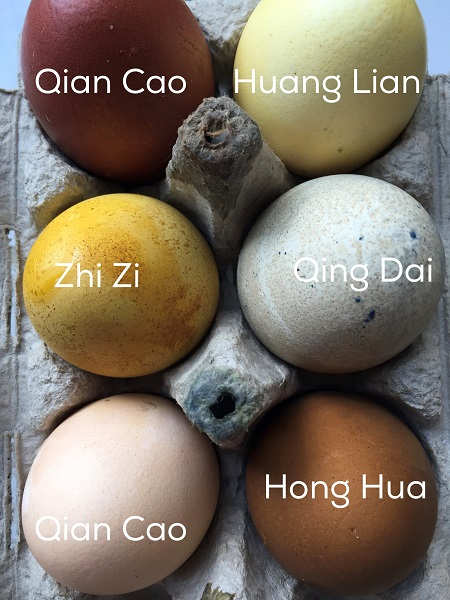 Easter eggs dyed with Chinese herbs