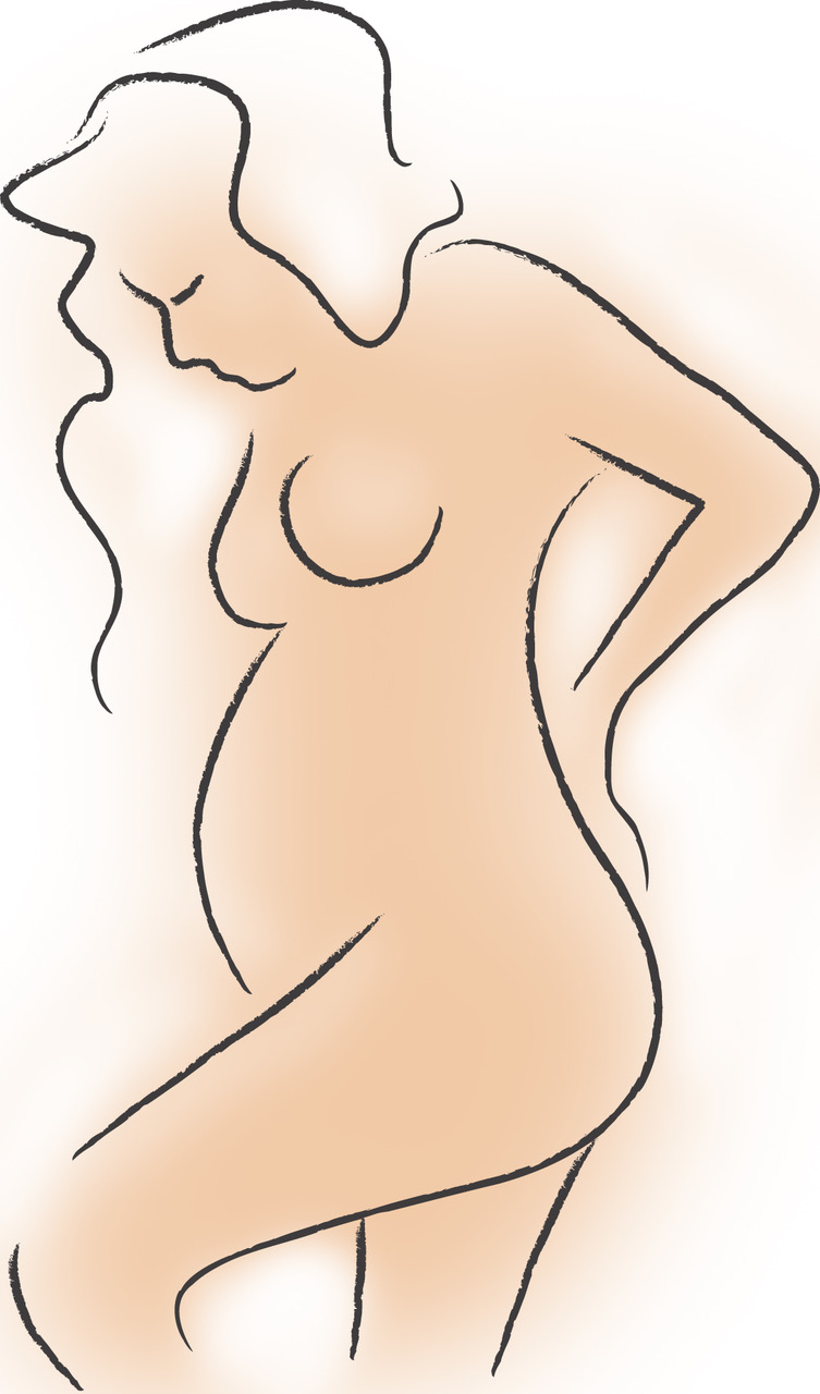 Pregnant Woman Line Drawing - Hugh Lau