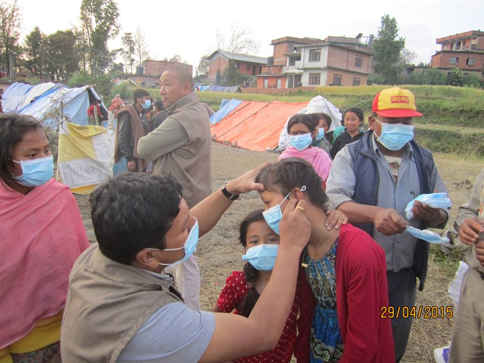 Dr. Shyam Maharjan treating several days after the earthquake