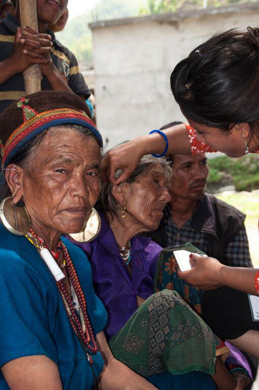 Women receiving treatment at AWB mobile clinic in Nuwakot