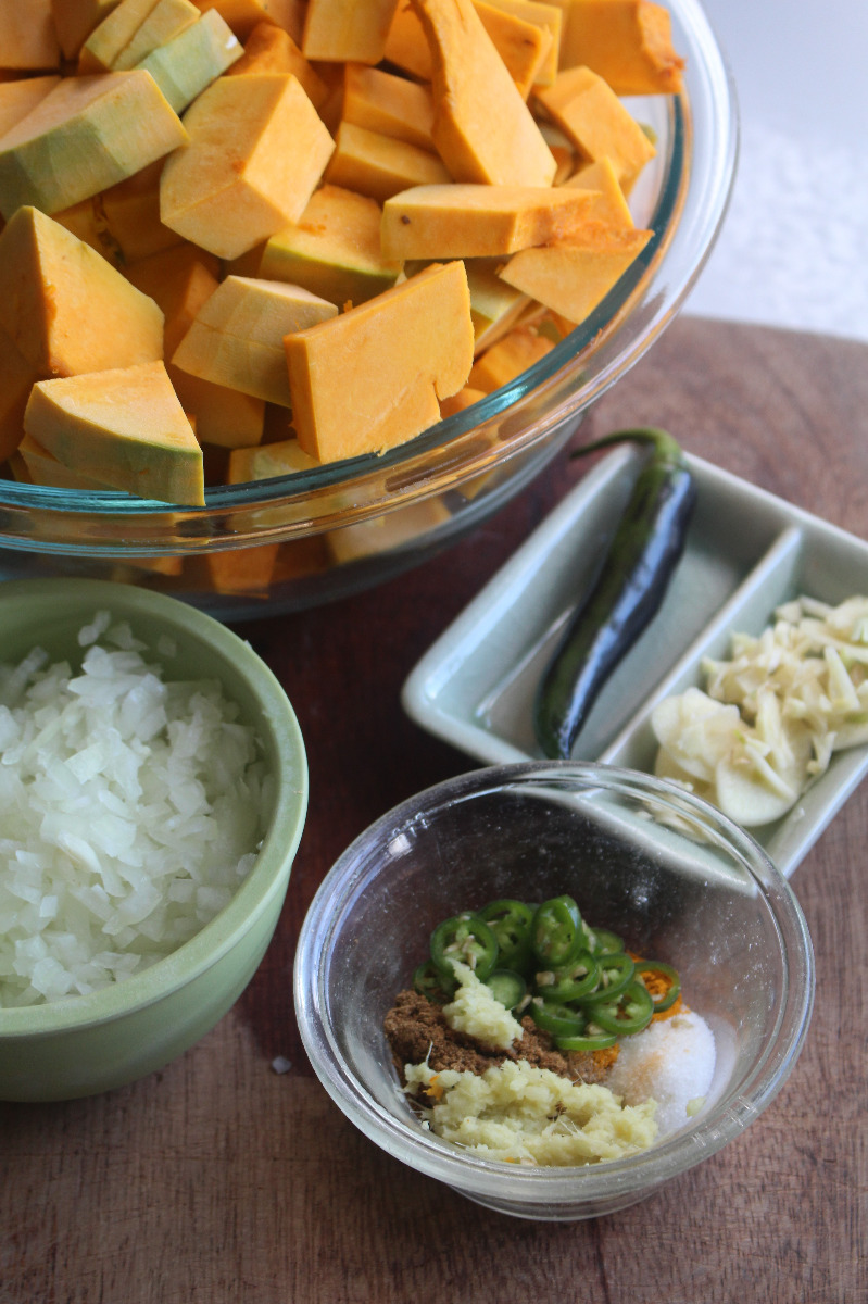 ingredients for squash and aduki bean curry