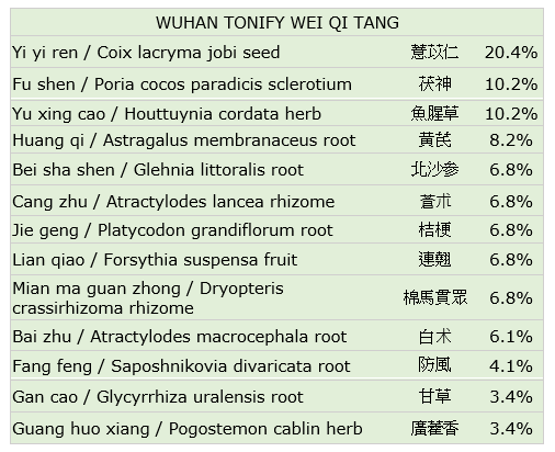 Wuhan Tonify Wei Qi Tang Ingredients