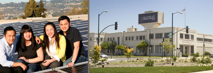The Lau Siblings in front of their Solar facility in Oakland