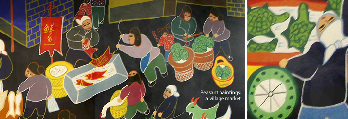 """peasant paintings"" depicting a village market"